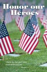 Honor our Heroes Cemetery with US Flags (Philippians 1:3, KJV) Bulletins, Pack of 50