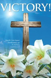 Victory! Cross and Lilies (1 Corinthians 15:54, NIV) Bulletins, 100