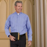 Men's Long Sleeve Clergy Shirt with Tab Collar: Medium Blue, Size 17 x 36/37