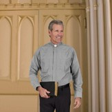 Men's Long Sleeve Clergy Shirt with Tab Collar: Gray, Size 14.5 x 32/33