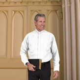 Men's Long Sleeve Clergy Shirt with Tab Collar: White, Size 17 x 32/33