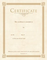 Gold Foil Embossed General Certificates (Colossians 3:17) Pack of 6