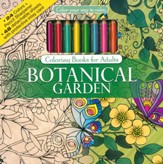 Botanical Garden Coloring Book with Colored Pencils
