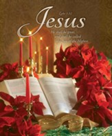 Christmas--Poinsettia, Bible, Candles Large Bulletins, 100