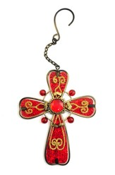 Glass Hanging Cross, Burgundy