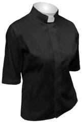 Women's Short-Sleeve Tab Collar Shirt: Black-10