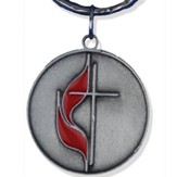 Cross & Flame Pewter Keychain