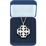 New Jerusalem Cross Sterling Silver Pendant on Rhodium Chain, 1 1/2 inch