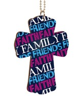 Faith, Family, Friends, Cross Car Charm