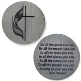Cross and Flame John Wesley Quote Pocket Coin