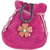 Pink Daisy Youth Pendant with Fabric Pouch