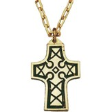 Celtic Cross Gold Plated Enameled