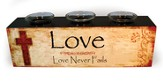 Love Never Fails Wood Candle Holder