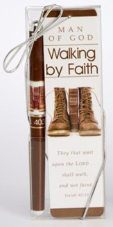 Man Of God, Walking By Faith Pen and Bookmark Gift Set