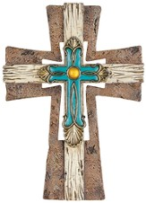 Triple Turquoise Stone, Resin Wall Cross