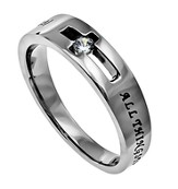 Christ My Strength Solitaire Women's Ring, Size 5 (Philippians 4:13)