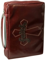 Faith, Cross Bible Cover, Brown, Large
