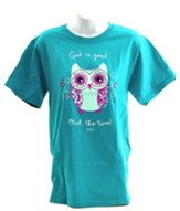 God Is Good, Owl the Time Shirt, Teal, Small
