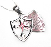 Fear, Shield Cross Necklace, Pink