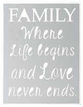 Family/Life Begins, Laser Cut Box Sign