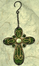 Glass Hanging Cross, Green