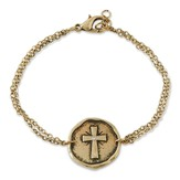 Double Chain Bracelet with Cross Disk, Antique Gold
