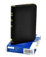 KJV Pocket Reference Bible with zipper, French Morocco leather, black