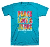 Peace Love Jesus Shirt, Blue, Small