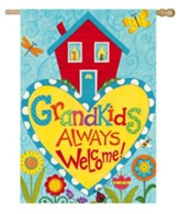 Grandkids Always Welcome Flag, Large