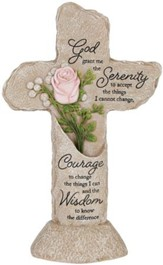 Serenity Prayer, LED Pedestal Cross