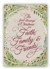 Faith, Family Friends Christmas Cards, Pack of 20