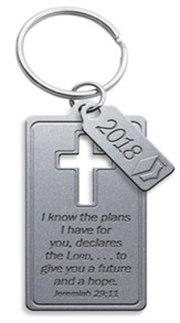 2018 Graduation Cross Keychain with 2018 Pendant