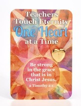 Teachers Touch Eternity Heart with Cross Lapel Pin and Card