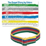 The Gospel Story By Colors Cloth Bracelet and Card, KJV