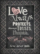 Love Always Protects, Chalkboard Wall Art