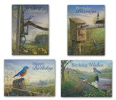 Bluebirds Birthday Cards, Box of 12