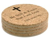 Personalized, Cork Coaster, Be Still, Set of 4