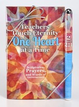Teachers Touch Eternity One Heart at a Time Pen & Softcover Devotion Book Gift Set