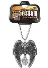 Guardian Angel Car Charm, Pewter and Crystal