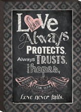 Love Always Protects, Mini Chalkboard Art