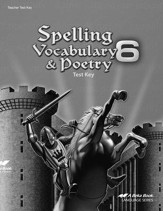 Abeka Spelling, Vocabulary, & Poetry 6 Tests Key