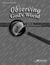 Abeka Observing God's World Quizzes & Worksheets Key