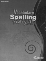 Abeka Vocabulary, Spelling, & Poetry  III Quizzes Key