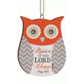 Owl, Rejoice in the Lord Always, Car Charm