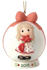 2016 Precious Moments Ball Ornament: Wishing You A Beautiful  Christmas