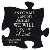 Personalized, Puzzle Magnet, As For Me and My House,  Black