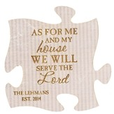 Personalized, Puzzle Magnet, As For Me and My House,  White