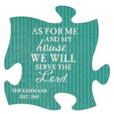 Personalized, Puzzle Magnet, As For Me and My House, Green