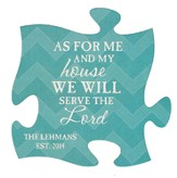 Personalized, Puzzle Magnet, As For Me and My House,  Teal