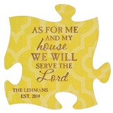 Personalized, Puzzle Magnet, As For Me and My House,  Yellow